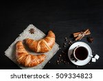 Coffee And Croissants On Black ...