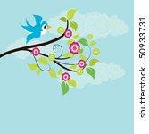 vector branch and bird | Shutterstock .eps vector #50933731