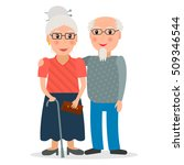 old couple of retirees.... | Shutterstock .eps vector #509346544