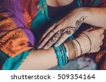 mehandi tattoo on the hand.... | Shutterstock . vector #509354164