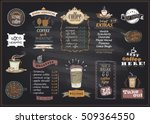chalkboard coffee and desserts... | Shutterstock .eps vector #509364550