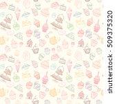 hand drawn vector seamless... | Shutterstock .eps vector #509375320