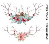watercolor christmas clipart.... | Shutterstock . vector #509375860