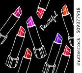lipstick red fashion beauty...   Shutterstock .eps vector #509377918