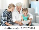 grandfather and grandchildren... | Shutterstock . vector #509378884