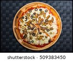 pizza with anchovies  olives ...   Shutterstock . vector #509383450