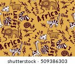 seamless pattern of funny... | Shutterstock .eps vector #509386303
