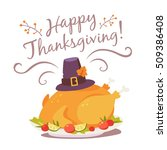 vector happy thanksgiving... | Shutterstock .eps vector #509386408