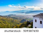 Volos city and sea gulf aerial view from Pelion mount, Greece