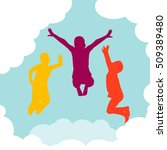 children jumping on clouds in... | Shutterstock .eps vector #509389480