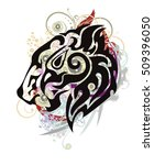 growling lion head formed by... | Shutterstock .eps vector #509396050