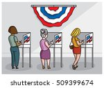 american women at voting booths ... | Shutterstock .eps vector #509399674