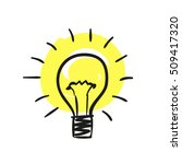 sketch of bulb icon with idea... | Shutterstock .eps vector #509417320