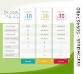 pricing comparison table set... | Shutterstock .eps vector #509437480