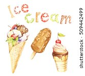 different kinds of ice cream... | Shutterstock . vector #509442499