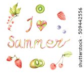 fruits  berries and inscription.... | Shutterstock . vector #509442556