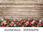 fir tree branches with advent... | Shutterstock . vector #509446396
