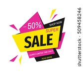 super sale banner on colorful... | Shutterstock .eps vector #509458246