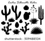 Black Silhouettes Of Cactus ...