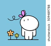cute funny man with a butterfly ... | Shutterstock .eps vector #509489788