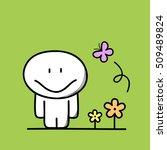 cute funny man near the flowers ... | Shutterstock .eps vector #509489824