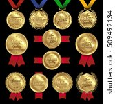 isolated golden medal prize set ... | Shutterstock .eps vector #509492134