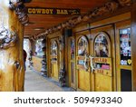 Small photo of Jackson Hole, WY/USA - june 12 2010: Legendary Million Dollar Cowboy Bar in center of Jackson Hole