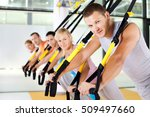 group of people exercising with ... | Shutterstock . vector #509497660