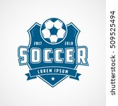 soccer emblem blue flat icon on ... | Shutterstock .eps vector #509525494