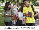 diverse young students book... | Shutterstock . vector #509529148