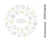 christmas icons elements circle ... | Shutterstock .eps vector #509533696