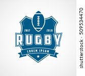 rugby emblem blue flat icon on... | Shutterstock .eps vector #509534470