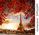 eiffel tower with autumn leaves ... | Shutterstock . vector #509561899