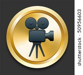 film camera on golden internet... | Shutterstock .eps vector #50956603