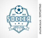 soccer emblem blue line icon on ... | Shutterstock .eps vector #509569960