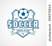 soccer emblem blue line icon on ... | Shutterstock .eps vector #509570014