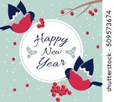 new year bullfinch and new year ... | Shutterstock .eps vector #509573674