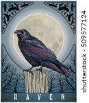 setting the raven on the moon... | Shutterstock .eps vector #509577124