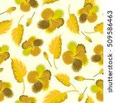 vector hibiscus flower seamless ... | Shutterstock .eps vector #509586463
