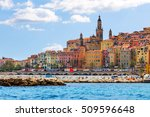 colorful old town menton on... | Shutterstock . vector #509596648