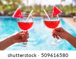 couple drinking cocktails near... | Shutterstock . vector #509616580