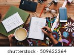 home office desk background ... | Shutterstock . vector #509622364