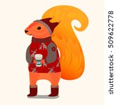 cute christmas squirrel. vector ... | Shutterstock .eps vector #509622778