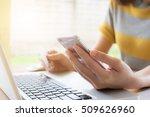 online payment  women's hands...   Shutterstock . vector #509626960