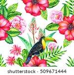 seamless vintage botanical... | Shutterstock . vector #509671444
