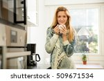 woman holding cup of hot coffee ... | Shutterstock . vector #509671534