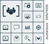 set of seo icons on brain... | Shutterstock .eps vector #509674330