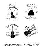music vintage retro label and... | Shutterstock .eps vector #509677144