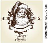 santa claus head. hand drawn... | Shutterstock .eps vector #509677438
