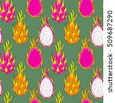 dragon fruit pattern. pitaya ... | Shutterstock .eps vector #509687290